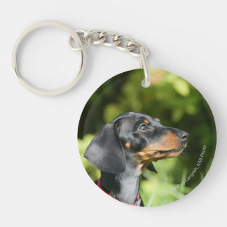 Black and Tan Miniture Dachshund 3 Double-Sided Round Acrylic Keychain