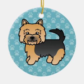 Black And Tan Norwich Terrier Cartoon Dog Ceramic Ornament