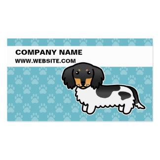 Black And Tan Piebald Long Coat Dachshund Business Card Templates