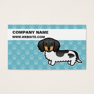 Black And Tan Piebald Long Coat Dachshund Dog Business Card