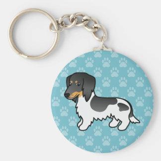 Black And Tan Piebald Long Coat Dachshund Dog Keychain