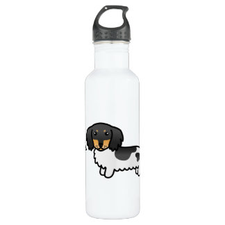 Black And Tan Piebald Long Coat Dachshund Dog Love Stainless Steel Water Bottle