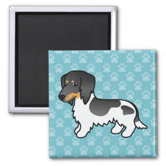 Black And Tan Piebald Long Coat Dachshund Dog Magnet