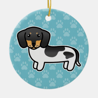 Black And Tan Piebald Smooth Coat Dachshund Ceramic Ornament