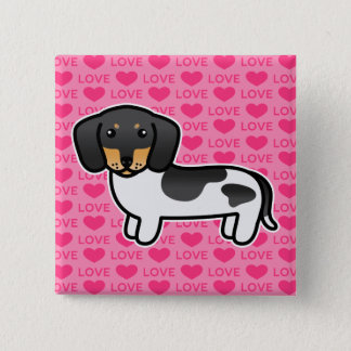 Black And Tan Piebald Smooth Coat Dachshund Dog Button