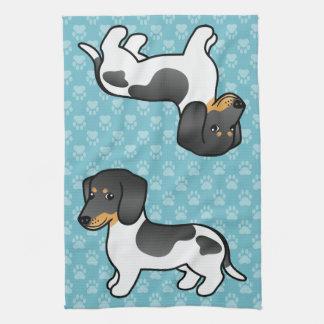 Black And Tan Piebald Smooth Coat Dachshund Dog Kitchen Towel