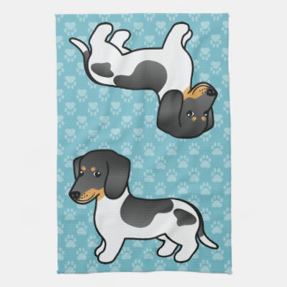 Black And Tan Piebald Smooth Coat Dachshund Kitchen Towels