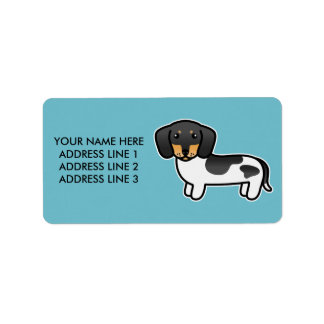 Black And Tan Piebald Smooth Coat Dachshund Label