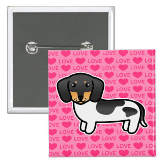 Black And Tan Piebald Smooth Coat Dachshund Love 2 Inch Square Button