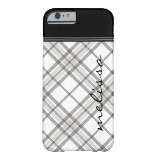 Black and Tan Plaid Monogram iPhone 6 Barely There iPhone 6 Case