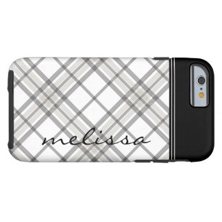 Black and Tan Plaid Monogram iPhone 6 Tough iPhone 6 Case