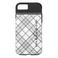 Black and Tan Plaid Monogram iPhone 7 iPhone 8/7 Case