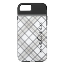 Black and Tan Plaid Monogram iPhone 7 iPhone 8/7 Case