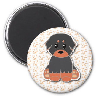 Black and tan puppy 2 inch round magnet