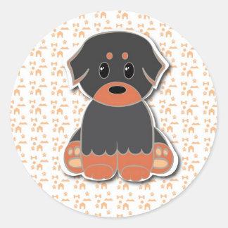 Black and tan puppy classic round sticker