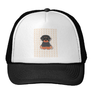 Black and tan puppy trucker hat