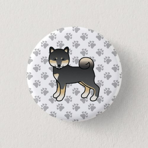 Black And Tan Shiba Inu Cute Cartoon Dog  Paws Button