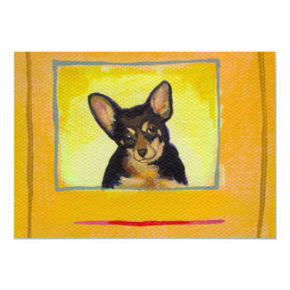 Black and tan small dog chihuahua minpin painting personalized invite