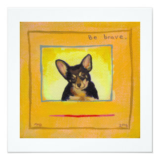 Black and tan small dog chihuahua minpin painting personalized announcements