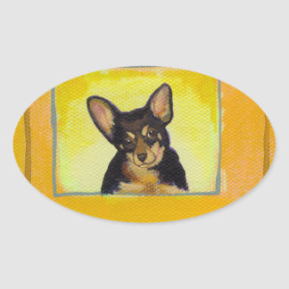 Black and tan small dog chihuahua minpin painting oval sticker