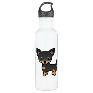 Black And Tan Smooth Coat Chihuahua Cartoon Dog Stainless Steel Water Bottle