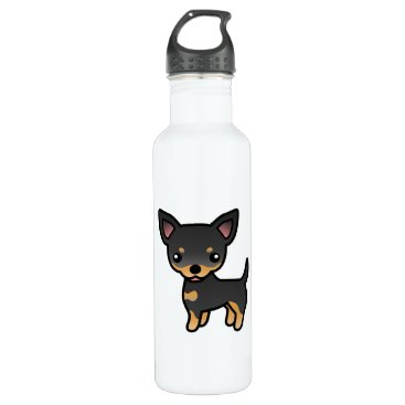 destei Black And Tan Smooth Coat Chihuahua Cartoon Dog Stainless Steel Water Bottle