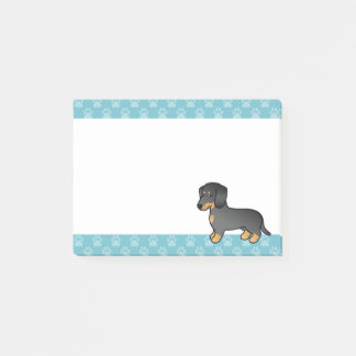 Black And Tan Smooth Coat Dachshund Cartoon Dog Post-it Notes