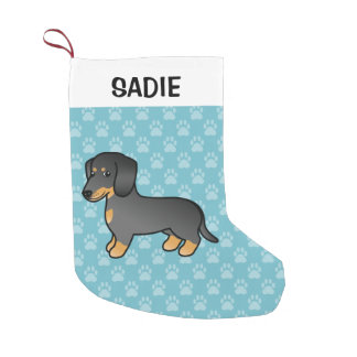 Black And Tan Smooth Coat Dachshund Cartoon Dog Small Christmas Stocking