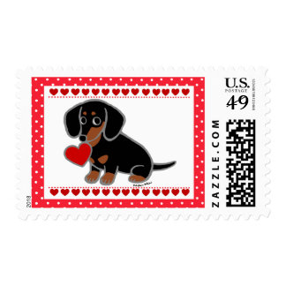 Black and Tan Smooth Dachshund Heart Postage
