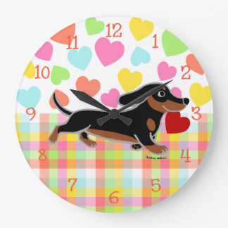 Black and Tan Smooth Dachshund Running Heart Large Clock