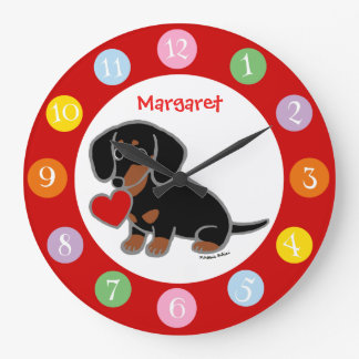 Black and Tan Smooth Haired Dachshund Large Clock
