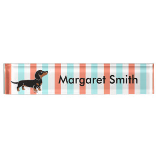 Black and Tan Smooth Haired Dachshund Name Plate
