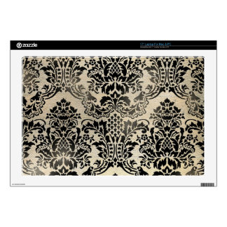 Black and tan textured damask. decals for laptops