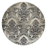 Black and tan textured damask. dinner plate