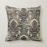 Black and tan textured damask Pillow.