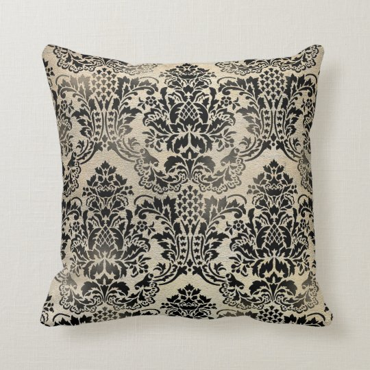 Black And Beige Throw Pillows : Black and tan textured damask Pillow. Throw Pillow Zazzle