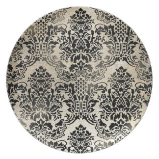 Black and tan textured damask. plate