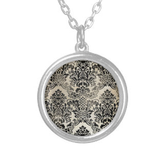 Black and tan textured damask. silver plated necklace