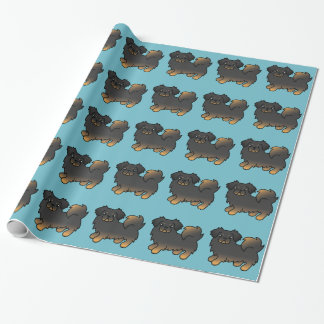 Black And Tan Tibetan Spaniel Cartoon Dog Wrapping Paper