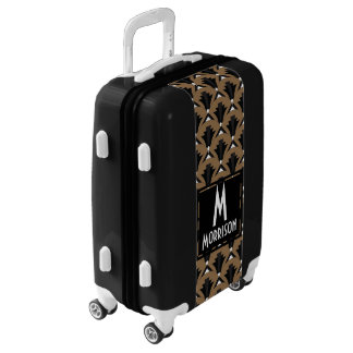 Black and Taupe 1920s Vintage Pattern Personalized Luggage