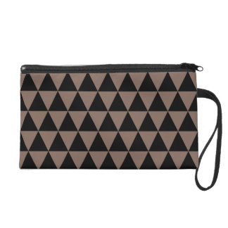 Black and Taupe Brown Geometric Triangles Wristlet
