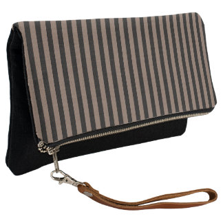 Black and Taupe Brown Stripe Clutch