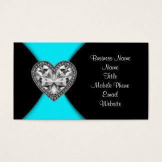 Black and Teal Blue Business Card