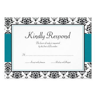 Black and Teal Blue Damask Response Card Invites