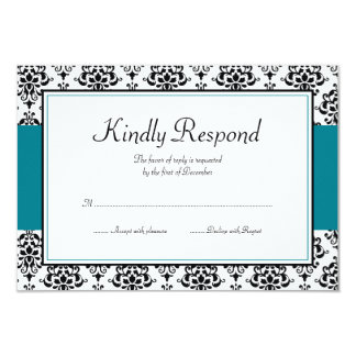"""Black and Teal Blue Damask Response Card 3.5"""" X 5"""" Invitation Card"""