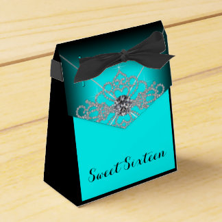 Black and Teal Blue Sweet 16 Birthday Party Favor Box