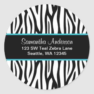 Black and Teal Blue Zebra Custom Address Label