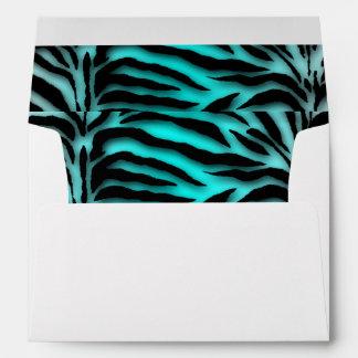 Black and Teal Blue Zebra Envelope