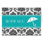 Black and Teal Bridal Shower Thank You Greeting Cards
