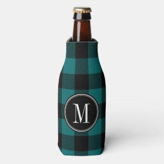 Black and Teal Buffalo Check Monogram Bottle Cooler